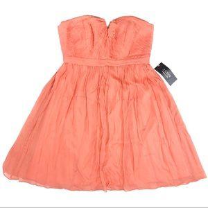 J Crew Sz 12 Silk Chiffon Bright Coral Nadia Dress